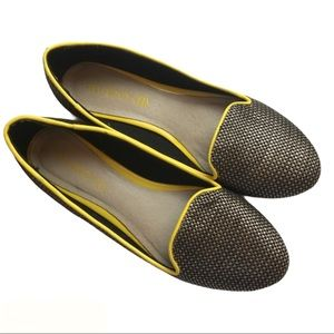 Aldo Metallic Patterned Flats With Yellow Trim 8.5